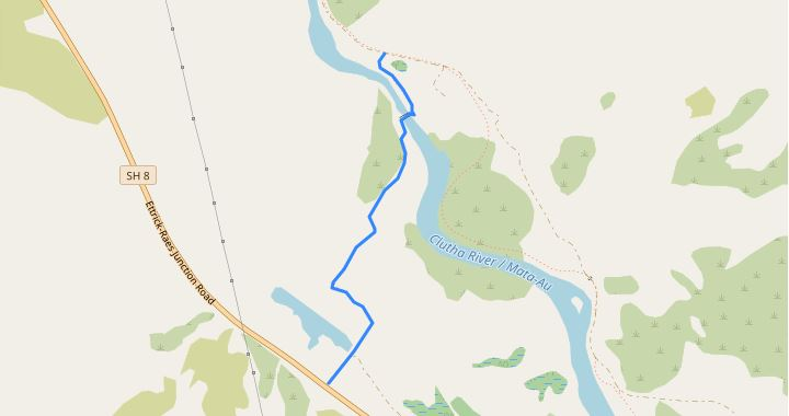 Map of walk to Horseshoe Bend out to State Highway 8